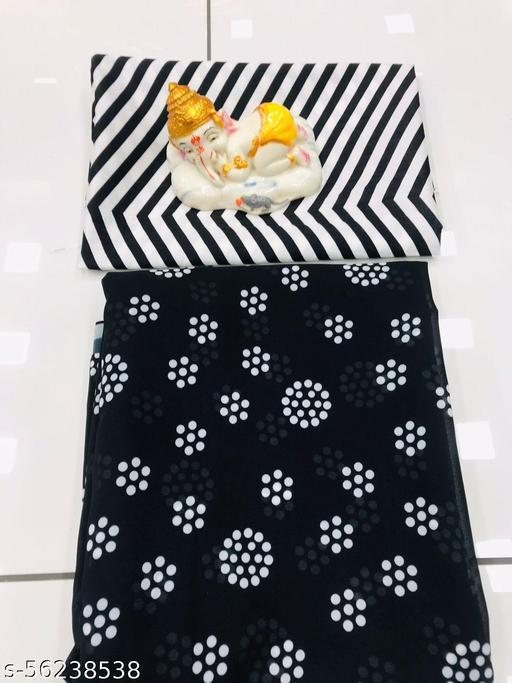 Heavy Printed Georgette SAaree with zig zag Bangalori Print blouse