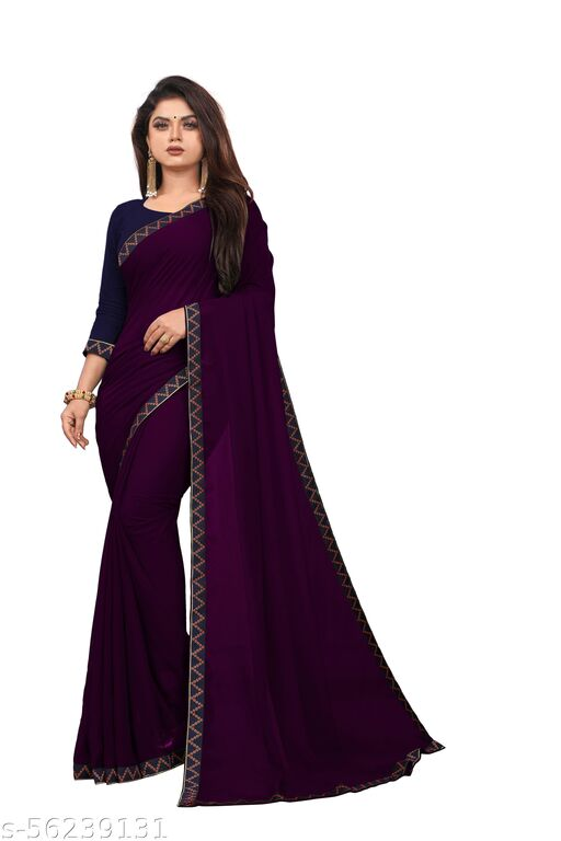 C&D BROTHER'S Black Embroidered georgette Plain Saree with Blouse