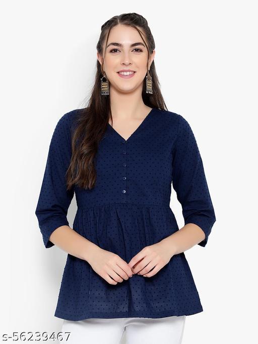 Women Blue Cotton Casual Tunic