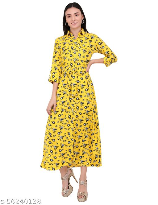 eCrownFashion women fit and flare yellow collar dress