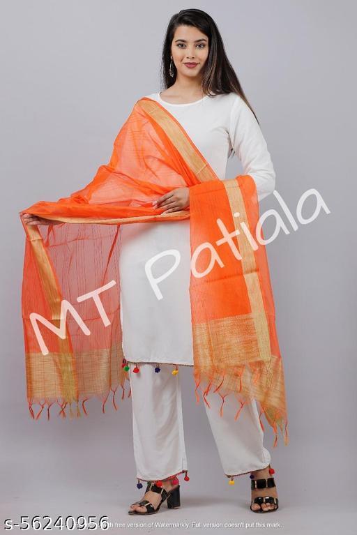 Cotton Silk Dupatta with Gold Border