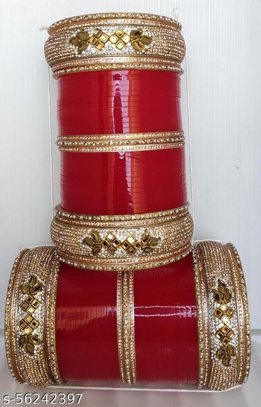 Bridal chuda with Rose gold stone Bracelet & Bangles