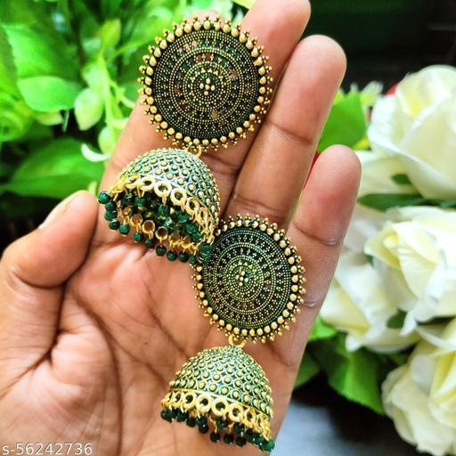 Traditional Pearl Jhumka/Jhumki Earrings For Girls and Women Party Wear Jhumki Earrings (Green)