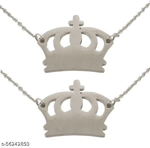 Adhvik (Set Of 2 Pcs) Silver Color Fancy & Stylish Trending Valentine's Day Special Metal Stainless Steel King Queen Crown Logo Locket Pendant Necklace With Chain For Boy's And Girl's