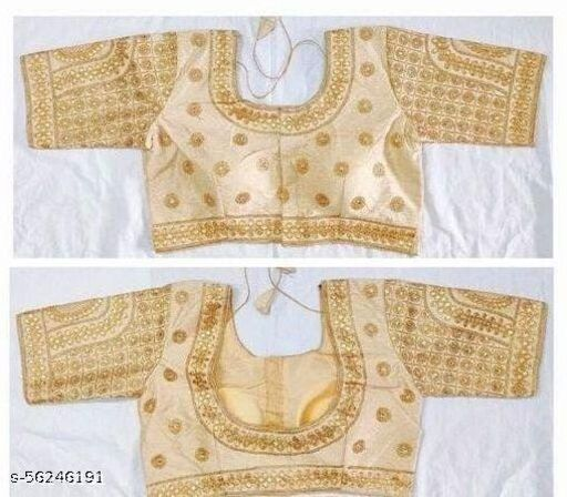 Amrutam Fashion Designer Studio Silk Gold Color Embroidery Ready made Blouse Piece