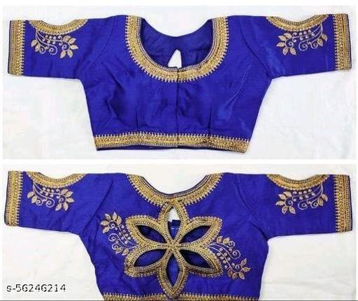 Amrutam Fashion Designer Studio Silk Blue Color Embroidery Ready made Blouse Piece