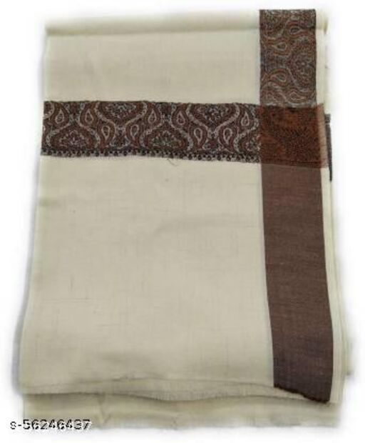 Men Off-White Wool Border Shawl (50W X 100L, Pack of 1)