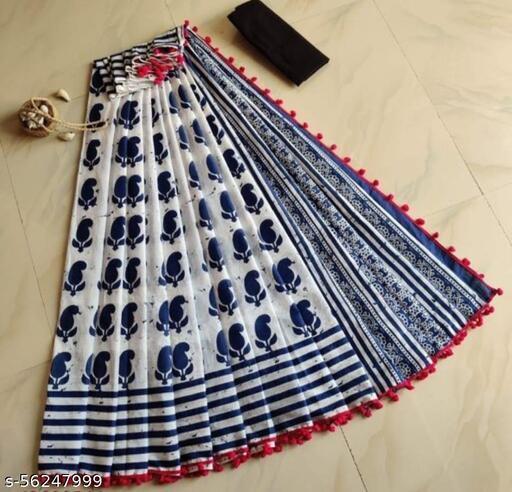 Jaipuri Bagru Print Pure Cotton Mulmul Sarees