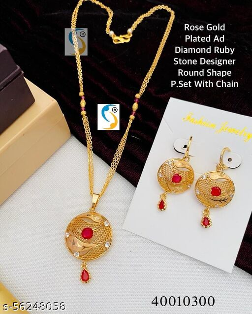 ROSE GOLD PLATED ROUND SHAPE P.SET WITH CHAIN & EARRING
