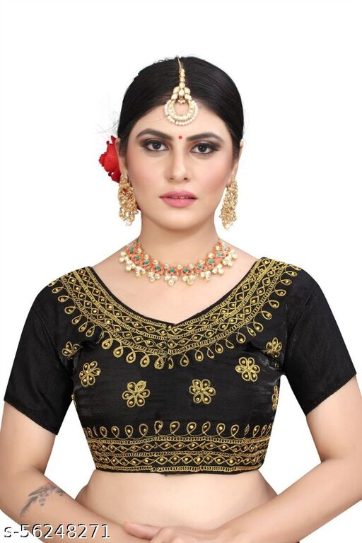 Fashion Fort latest Designer Ready Made Black Color Stiched Blouse Piece