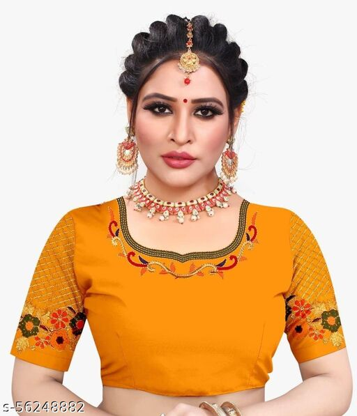 Fab Fort Silk Yellow Color Embroidery Ready made Blouse