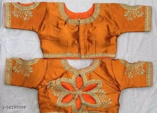 Fab Fort Silk OrangeColor Embroidery Ready made Blouse Piece