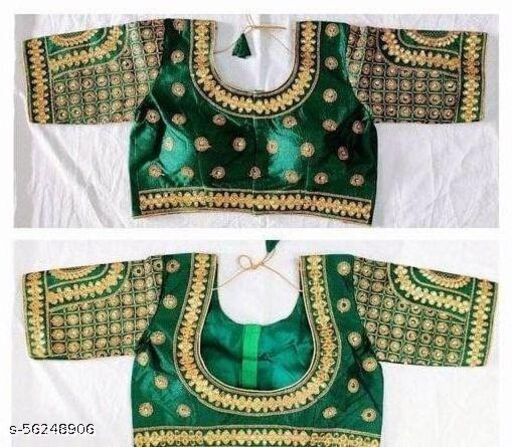 Fab Fort Silk Green Color Embroidery Ready made Blouse Piece