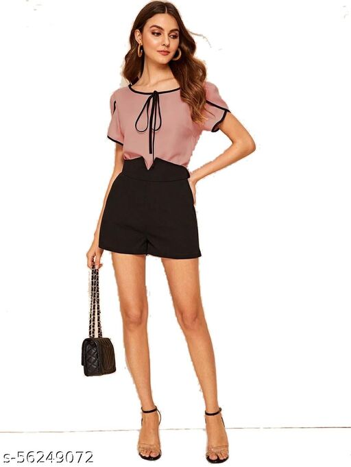 SACHI BROTHER Casual Regular Sleeves Solid Women Top