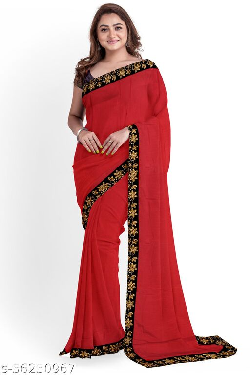 Embriodery Lace Work Vichitra Silk Saree