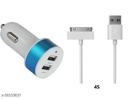 Double USB Car Charger With Cable For 4S