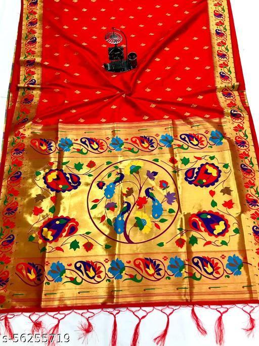 Pure soft Banarasi Paithani silk saree with heavy and rich pallu