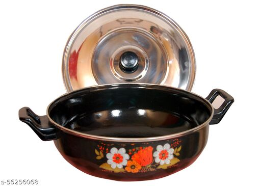 Kiara Non-Stick Hard Coated Kadhai With Lid, 3.5 Ltr , black Colour 26.5 cm Diameter (Induction bottom Cookware, Kadhai with Lid)