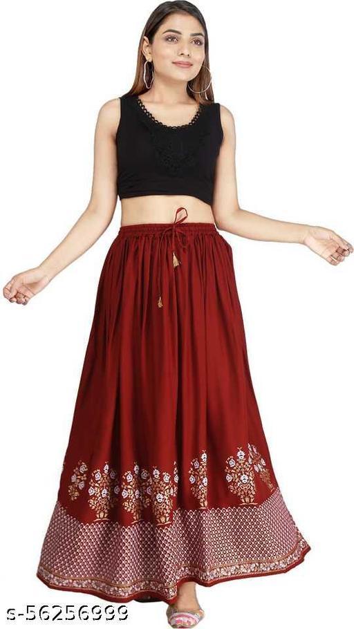 Maroon Printed Skirt
