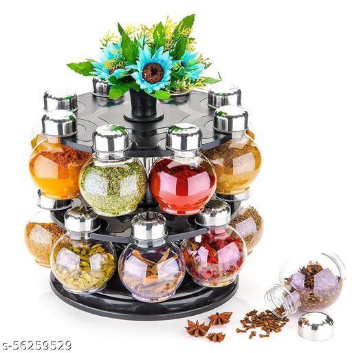 Multipurpose Plastic Big Revolving Spice Rack 16 in 1 / Masala Rack Set/Condiment Set/Spice Container