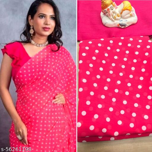Gajari Georgette dotted Saree with pink blouse