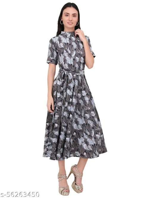 eCrownFashion WOMEN FIT AND FLARE GRAY DRESS