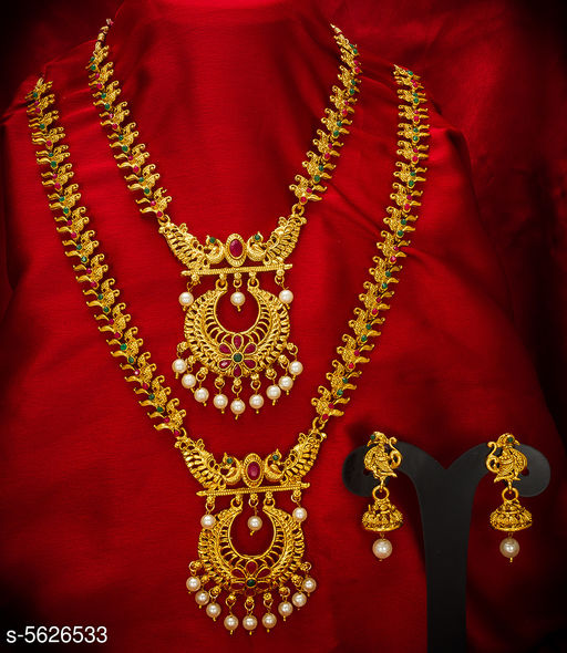 Women's Alloy Gold Plated Temple Jewellery Set