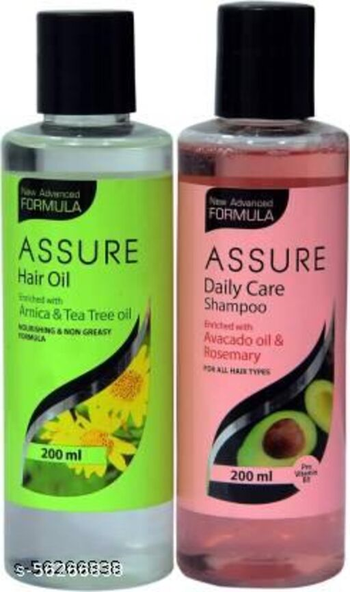 ASSURE HAIR OIL WITH ARNICA AND TEA TREE OIL AND SHAMPOO WITH AVOCADO AND ROSEMARY OIL COMBO  (2 Items in the set)
