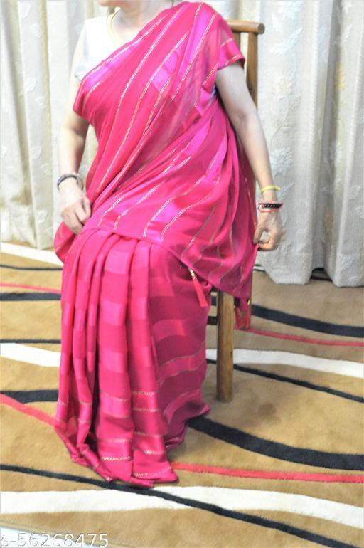 Georgette Party wear saree with Swarovski work and satin stripes on it