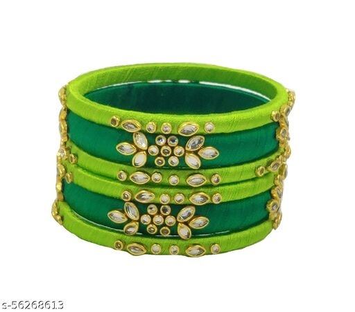 Kundan worked double shade silk thread bangle set for women's and girls