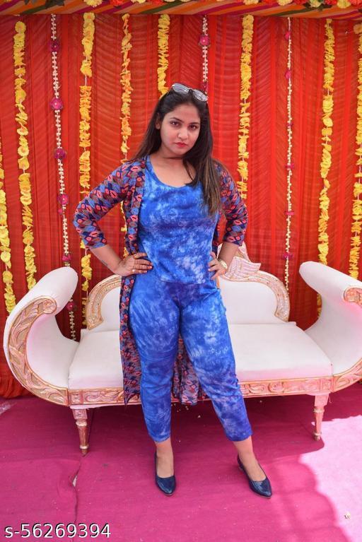 Women Rayon Inner Tie Dye Surg Rayon with fine Printed 3 pcs