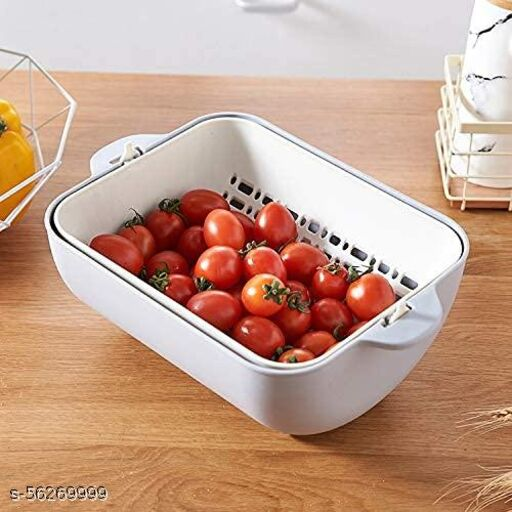 Washing Vegetables and Fruit Draining Basket Strainer, Fruit Basket for Dining Table, Drain Basket- Made in India