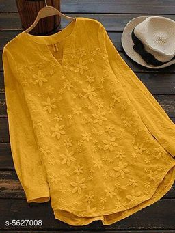 Women's Embroidered Yellow Cotton Top
