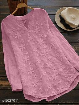 Women's Embroidered Pink Cotton Top