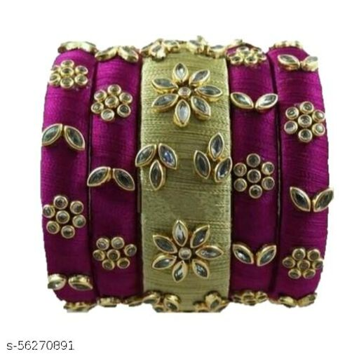 Kundan Worked double colour silk thread bangles for womens and girls