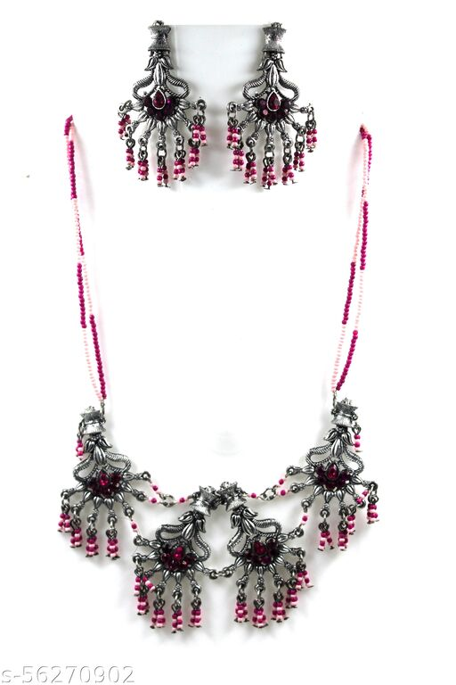 Antique German Silver Oxidised Plated Tribal Cotton Thread Jewellery Necklace Earring Set for Women & Girls Jewellery Set