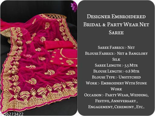 Sarangi Embroidered With Stone Worked Net Saree (Pink)