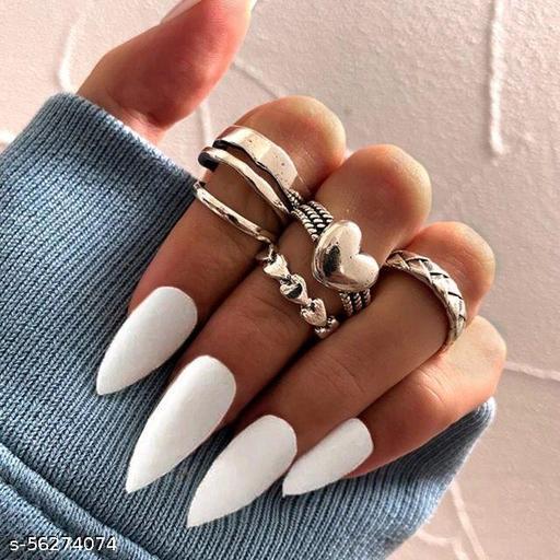 Yu Fashions Bohemian Silver Oxidized Heart Ring Set of 5