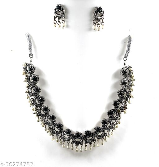 Jewellery Antique Oxidised Silver Plated Tribal Jewellery Necklace Earring Set for Women & Girls.(Valentine Gift Special). (Multi)