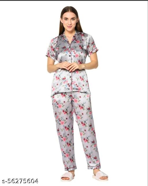 women`s Japanese Satin floral print nightsuit/ tp pyjama set