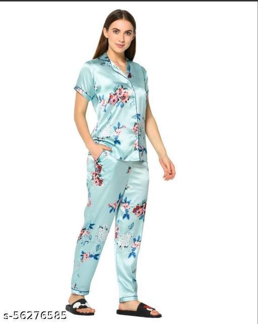 women`s sky blue japanese Satin floral print night suit/ top pyjama set