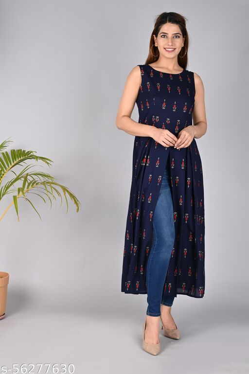 Printed Frontslit Kurti for Women in Rayon