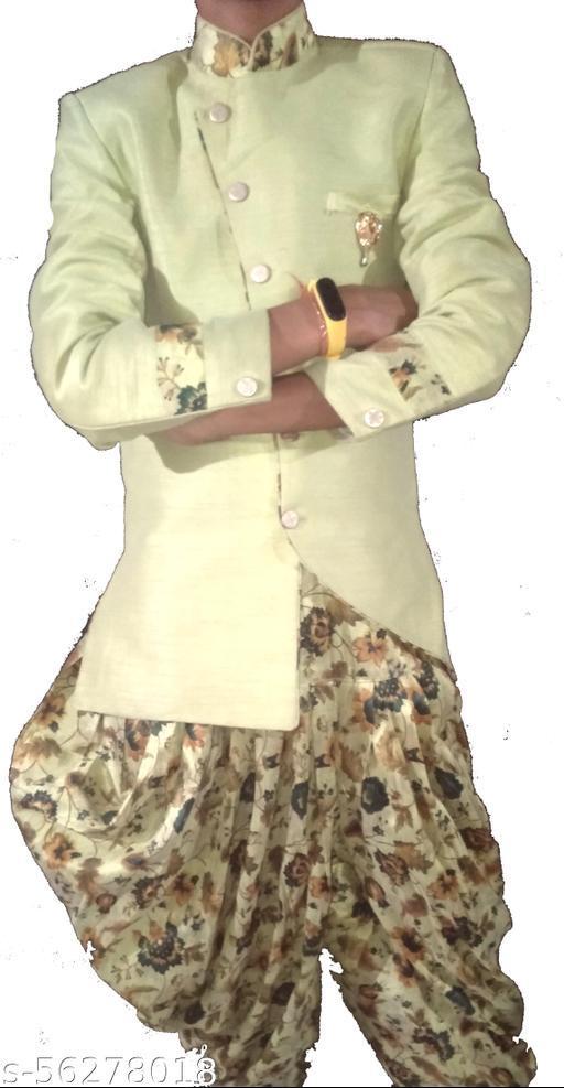 Boys Beige & Gold-Coloured Woven-Design Sherwani Set