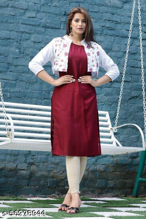 Women Rayon Solid Maroon kurti