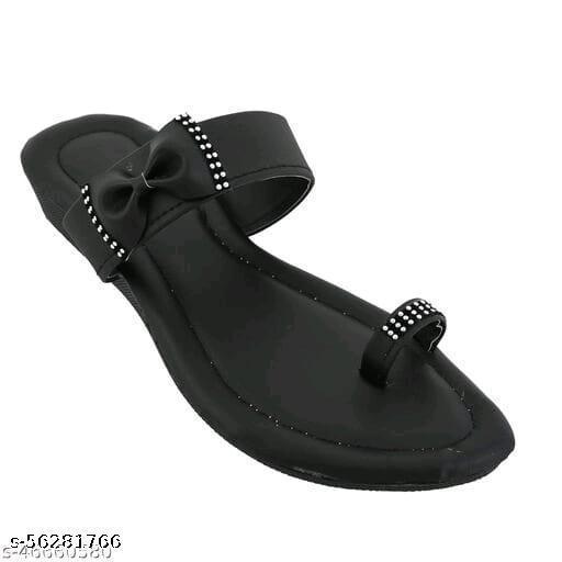 women solid flat slippers(Black)