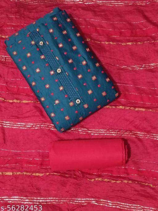 Trendy Golden Square Designer Blue Suit With Dupatta