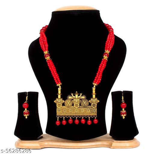 BELIZZI Ethnic Trendy Style Red Necklace with Earrings for Women and Girl's