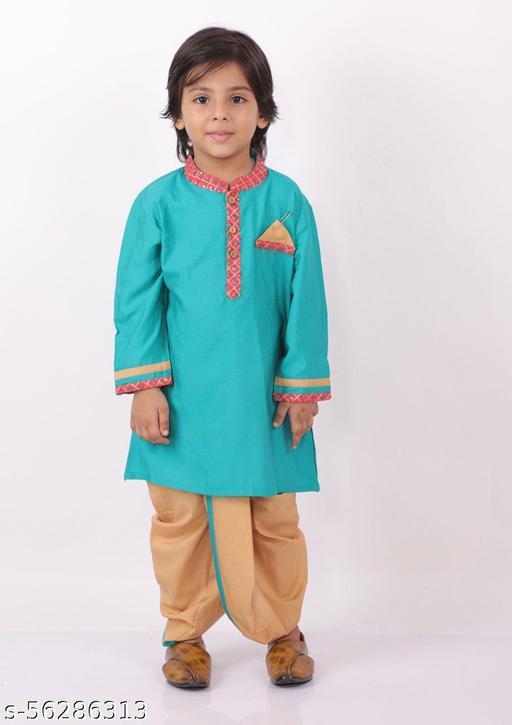 KID1 Premium Silk Embroidered detail kurta with Dhoti Printed soft silk Dhoti with comfortable elastic waist
