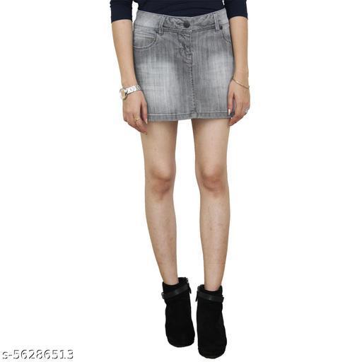 Grey Low Waist Denim Mini Skirt