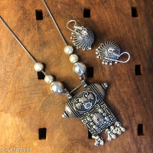 Traditional Oxidized German Silver Necklace with Trendy Earrings